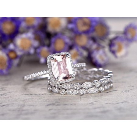Beautiful 2 Carat Emerald Cut Morganite and Diamond Trio Wedding Ring Set in White Gold ()