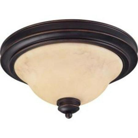 2-Light Copper Espresso Flush Dome with Honey Marble Glass (13 Flush Dome)