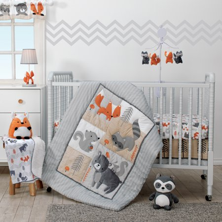Bedtime Originals Acorn 3-Piece Crib Bedding Set - Gray, Animals, - Woodland Animal