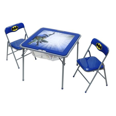 OKids Batman Childrens Metal Flip Top Table and Chair Set (Batman Table)