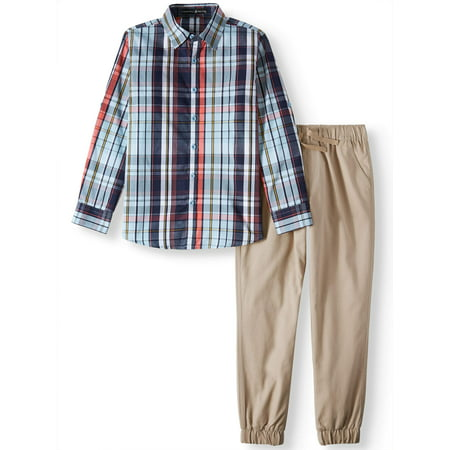 Beverly Hills Polo Club Boys 4-12 Plaid Long Sleeve Shirt & Twill Jogger Pants, 2-Piece Outfit Set