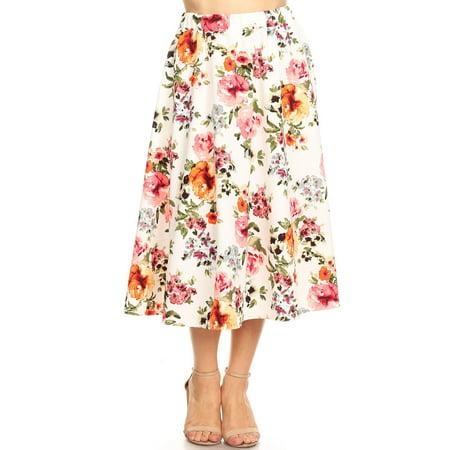 e1fbc57741f MOA COLLECTION Women s Regular Plus Size Pattern Print High Waist A-line  Pleat Midi Skirt Made in USA