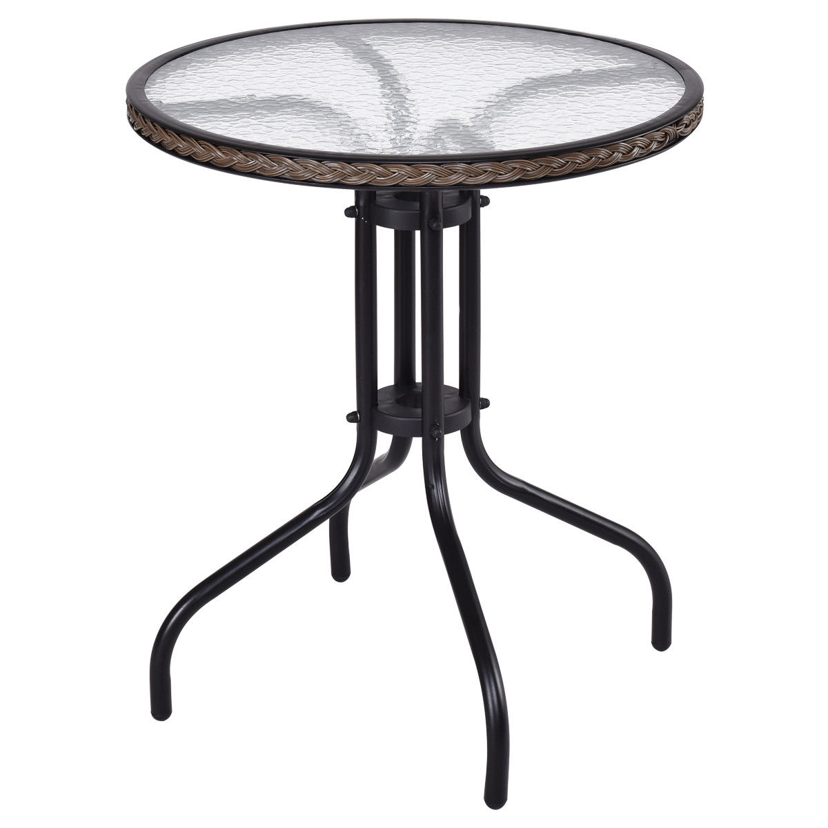 Gymax Steel Frame Glass Top Patio Round Table Dining Table
