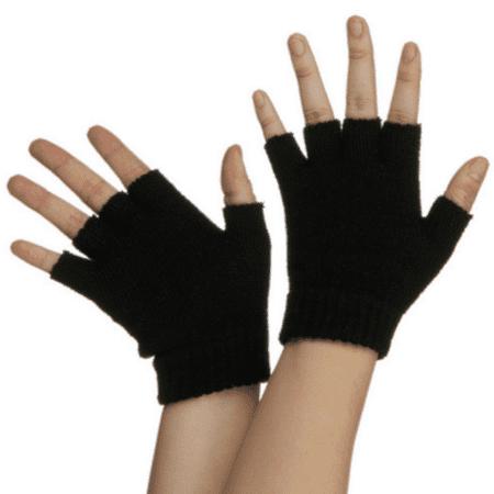 Finger Assault Gloves - Black Fingerless Gloves Legends Of The Hidden Temple Pokemon Costume Half Finger