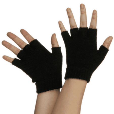 Black Fingerless Gloves Legends Of The Hidden Temple Pokemon Costume Half Finger for $<!---->