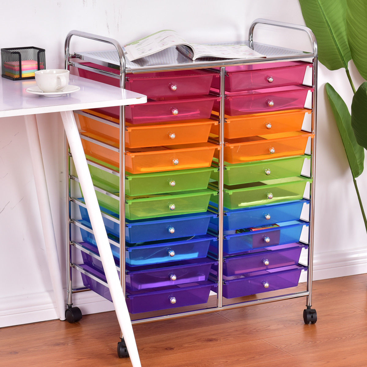 rolling storage carts costway 20 drawer rolling storage cart scrapbook paper 25642