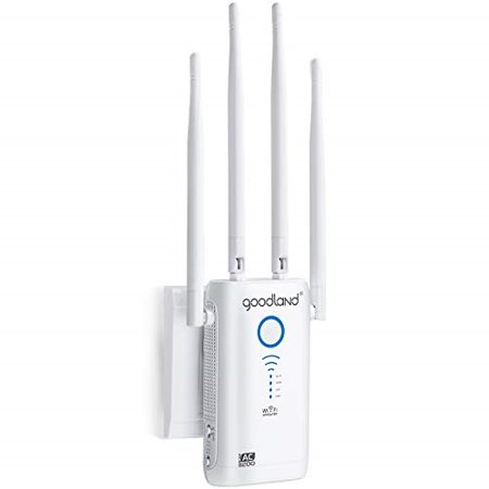 goodland ac1200 wifi range extender - super fast 1200mbps 2 4/5ghz dual  band wi-fi signal booster - 4 external antennas full coverage w/gigabit