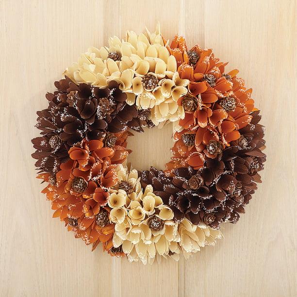 Rustic Front Door Autumn Wreath W Wooden Curl Flowers Walmart Com Walmart Com