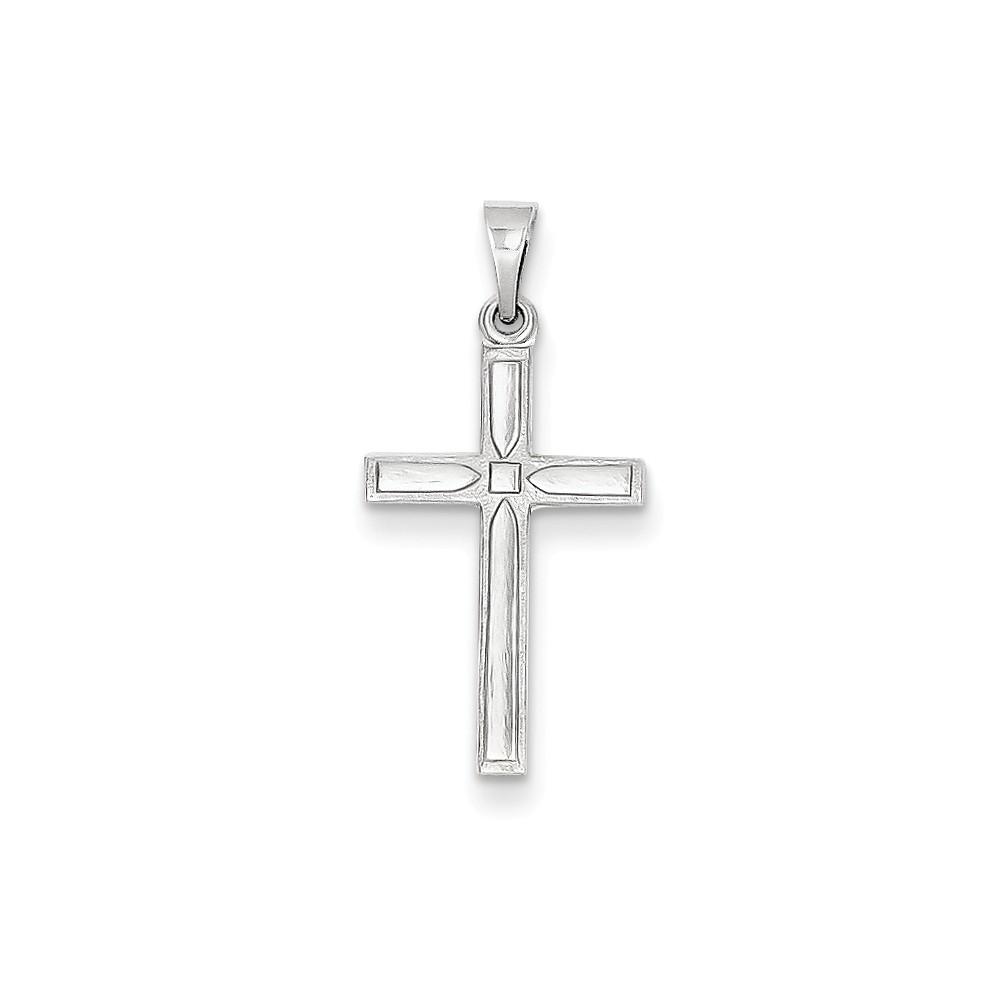 14k White Gold Hollow Latin Cross Pendant