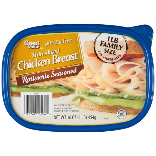 Great Value Thin Sliced Rotisserie Seasoned Chicken Breast, 16 oz