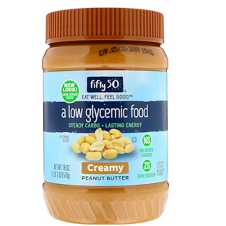 Low Glycemic Peanut Butter (Fifty 50, Low Glycemic Peanut Butter, Creamy, 18 oz (pack of 3) )