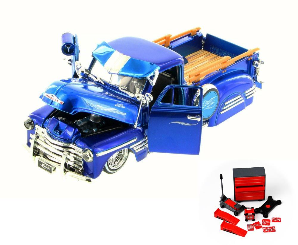 Diecast Car Mechanic Set Package 1951 Chevy Pickup Truck Blue Chevrolet Police Jada Toys 97425gw 1 24 Scale Model Toy W