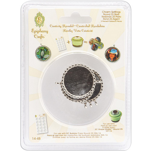 Epiphany Crafts Metal Charm Settings-Round 25, 5/Pkg Multi-Colored