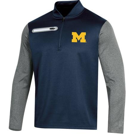 Men's Russell Navy Michigan Wolverines Colorblock Half-Zip Pullover Jacket