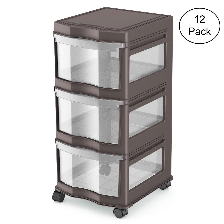 Life Story 3 Shelf Storage Container Organizer Plastic Drawers, Gray (12 Pack)