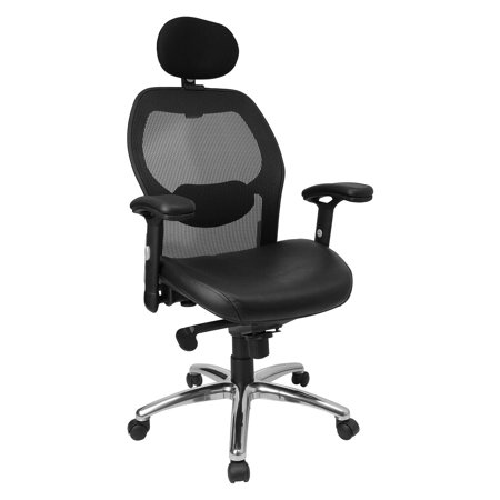 Flash Furniture High Back Super Mesh Office Chair - Black Italian Leather Seat