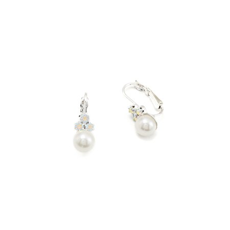 Silver White Pearl Dangle Earrings with Silver Hoop & 3 Round Shape Aurora Borealis Rhinestone (Aurora Shape)