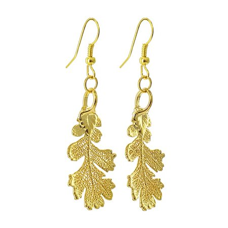 Gem Avenue 24k Yellow Gold Plated over REAL Lacy Oak Leaf Dangle Earrings French Wire