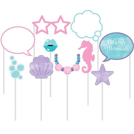 Creative Converting Iridescent Mermaid Party Photo Booth Props, 10 ct