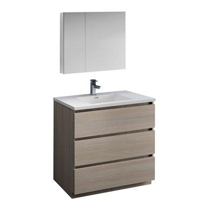 Lazzaro 36 Gray Wood Free Standing Modern Bathroom Vanity w Medicine