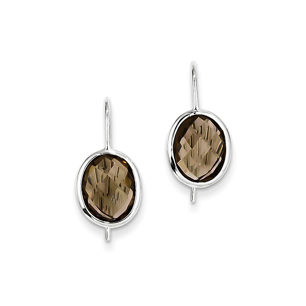Sterling Silver Rhodium Plated Smoky Quartz Oval Dangle Earrings. Gem Wt- 4.8ct (0.7IN x 0.3IN )