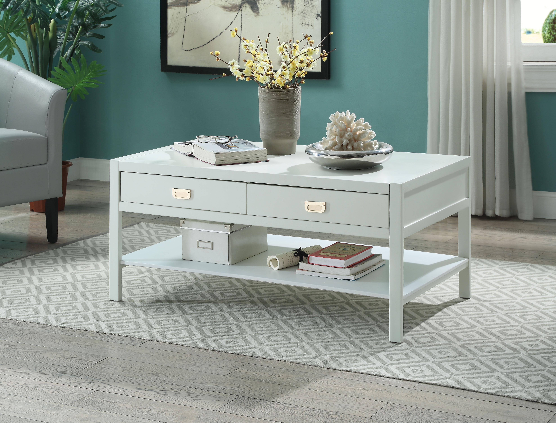 Linon peggy coffee table white two drawers one shelf walmart geotapseo Choice Image