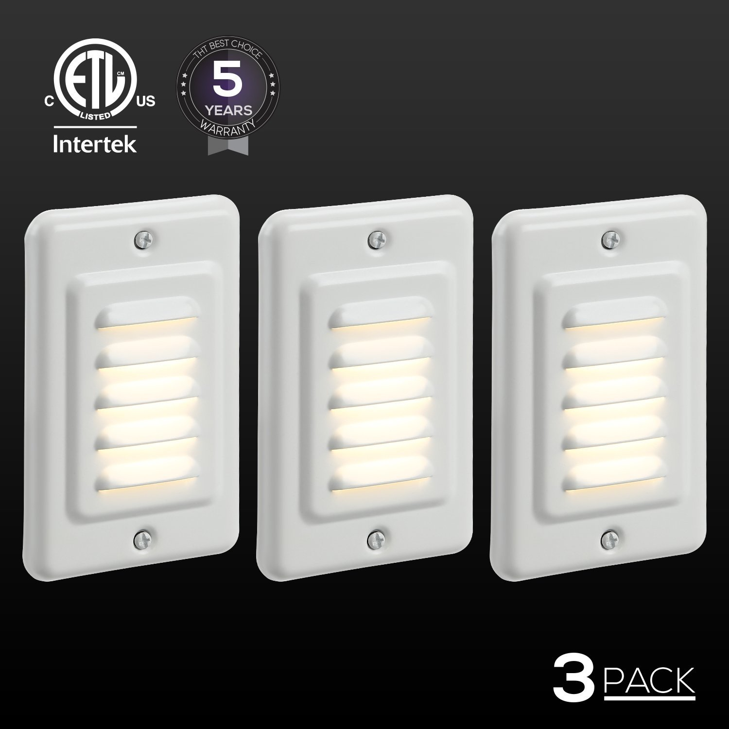 3 Pack Outdoor Mini Wall Lights, LED Warm Wall Lights
