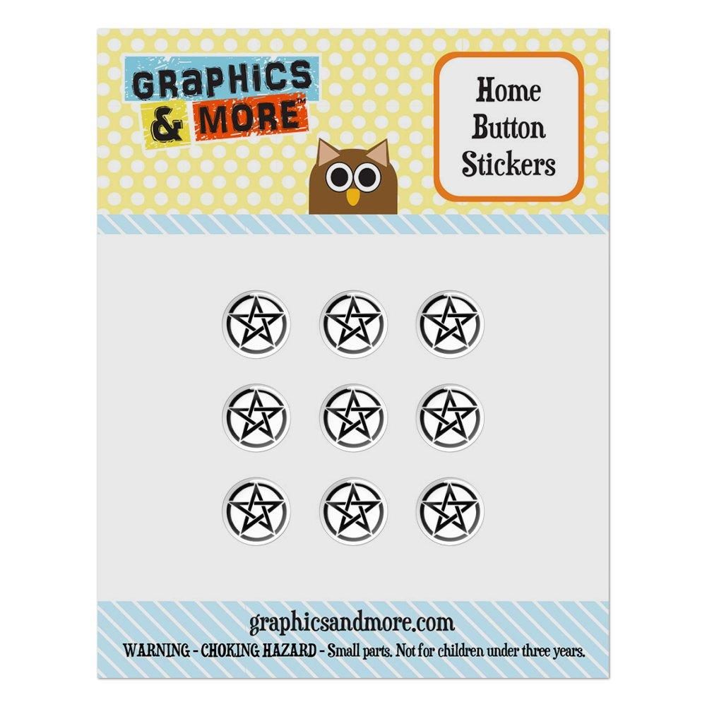 Pentagram Pentangle Star Wiccan Witch Home Button Stickers Set Fit Apple iPhone iPad iPod Touch