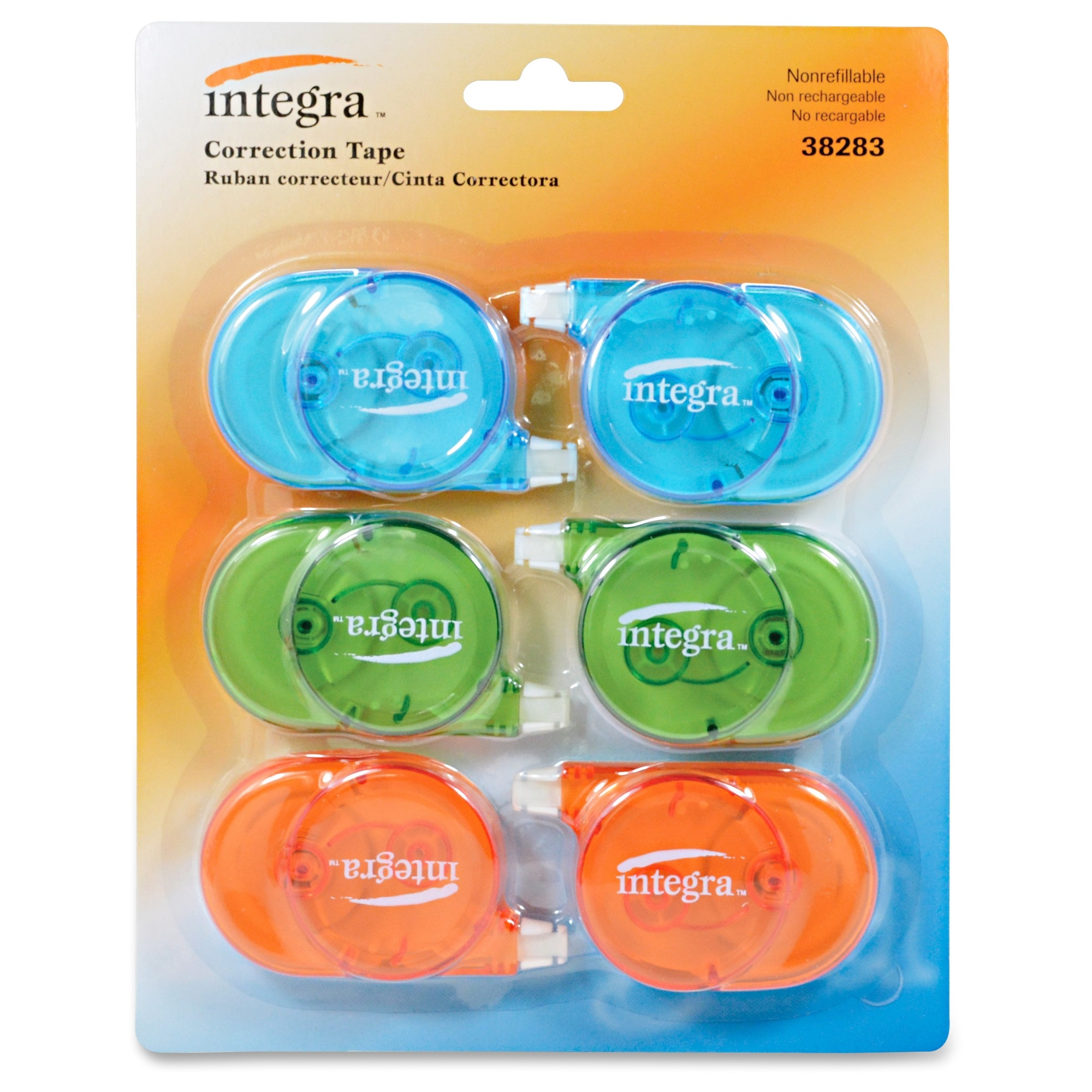 Integra Transparent Case Correction Tape Pack - Writable Surface, Non-refillable - 6 / Pack - Transparent Assorted Dispenser (ita-38283)