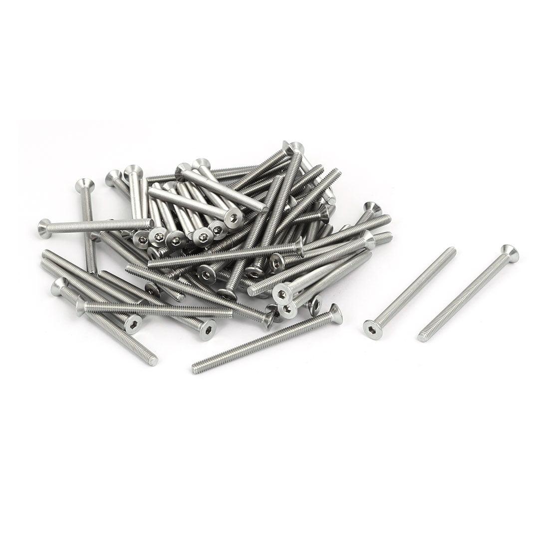 M4x55mm 304 Stainless Steel Flat Head Hex Socket Screws DIN7991 65pcs - image 4 de 4