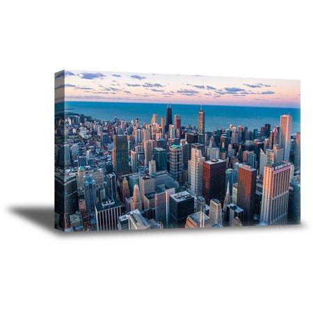 Awkward Styles Chicago Canvas Fine Art Chicago Cityscape Decor Birds Eye View Chicago Framed Artwork Souvenirs For Art Lovers Big American Cities