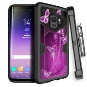 MAX DEFENSE Rugged Samsung Galaxy S9 Phone Case by MINITURTLE [Shock-Resistant Technology] Holster + Built-in Kickstand Case for Samsung Galaxy S9 [FOR GALAXY S9 SM-G960] - Butterfly Galaxy