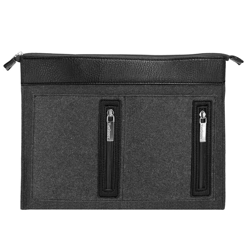 """12 Inch Weather-Resistant Padded Woolen Felt Laptop Case Sleeve For Dell XPS 12 / 13 And Latitude 12"""" Models With 4 Zippered Compartments For Chargers, Cables, And Accessories (Slate Gray)"""