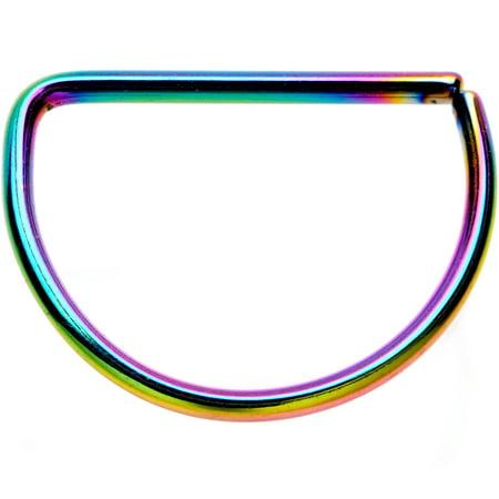 Body Candy Rainbow Anodized Titanium Steel D Shaped Septum Ring 20 Gauge 3/8