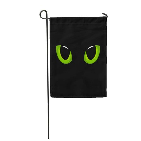 SIDONKU Halloween Hypnotic Green Cat Eyes in Darkness Cartoon Cute Monster Eyeball Dark Garden Flag Decorative Flag House Banner 28x40 inch - Halloween Cartoon Eyeball