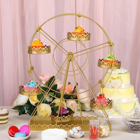 BalsaCircle 23-Inch tall Gold Rotating Ferris Wheel Metal Cupcake Holders Stand - Home Party Wedding Reception Event Decorations ()