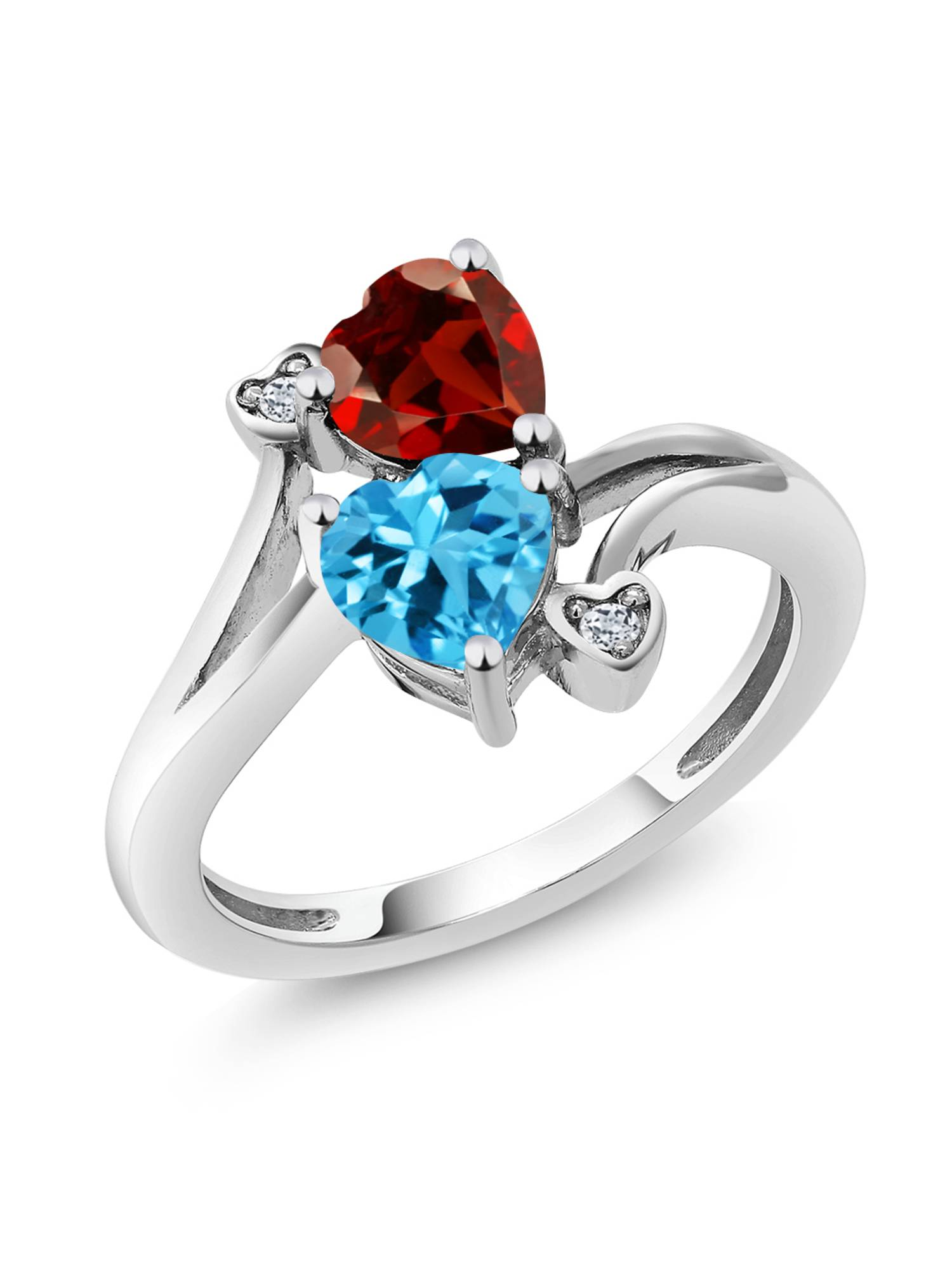 1.91 Ct Heart Shape Garnet and Swiss Topaz 925 Sterling Silver Women's Ring