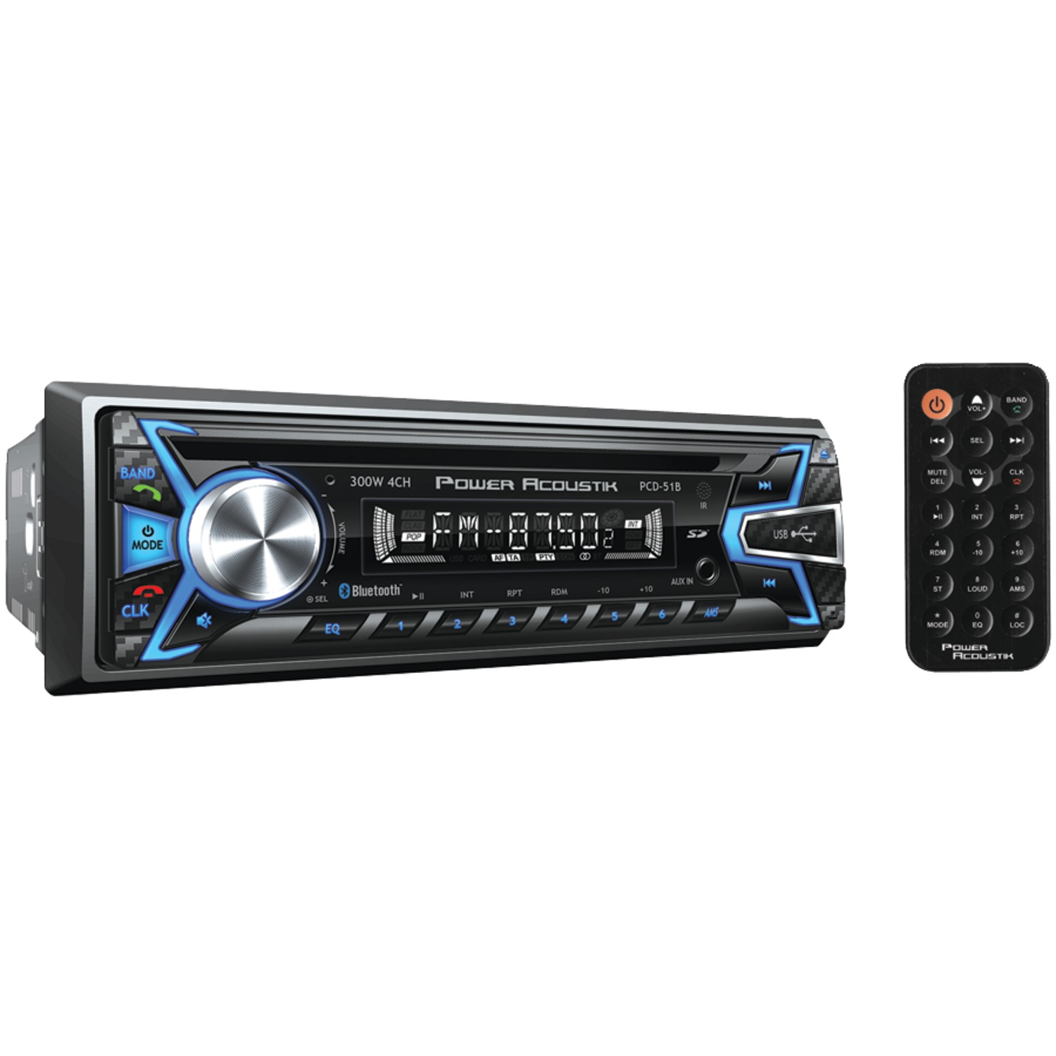 Power Acoustik PCD-51B Single-DIN In-Dash Digital Audio Receiver (Bluetooth, Detachable Face)