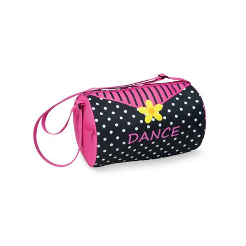 Danshuz Girls Black Yellow Pink Daisy Dots Microfiber Lined Duffel Bag