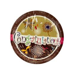 Bulk Buys PB755-48 Congratulations Party Dinner Plates - 48 Piece