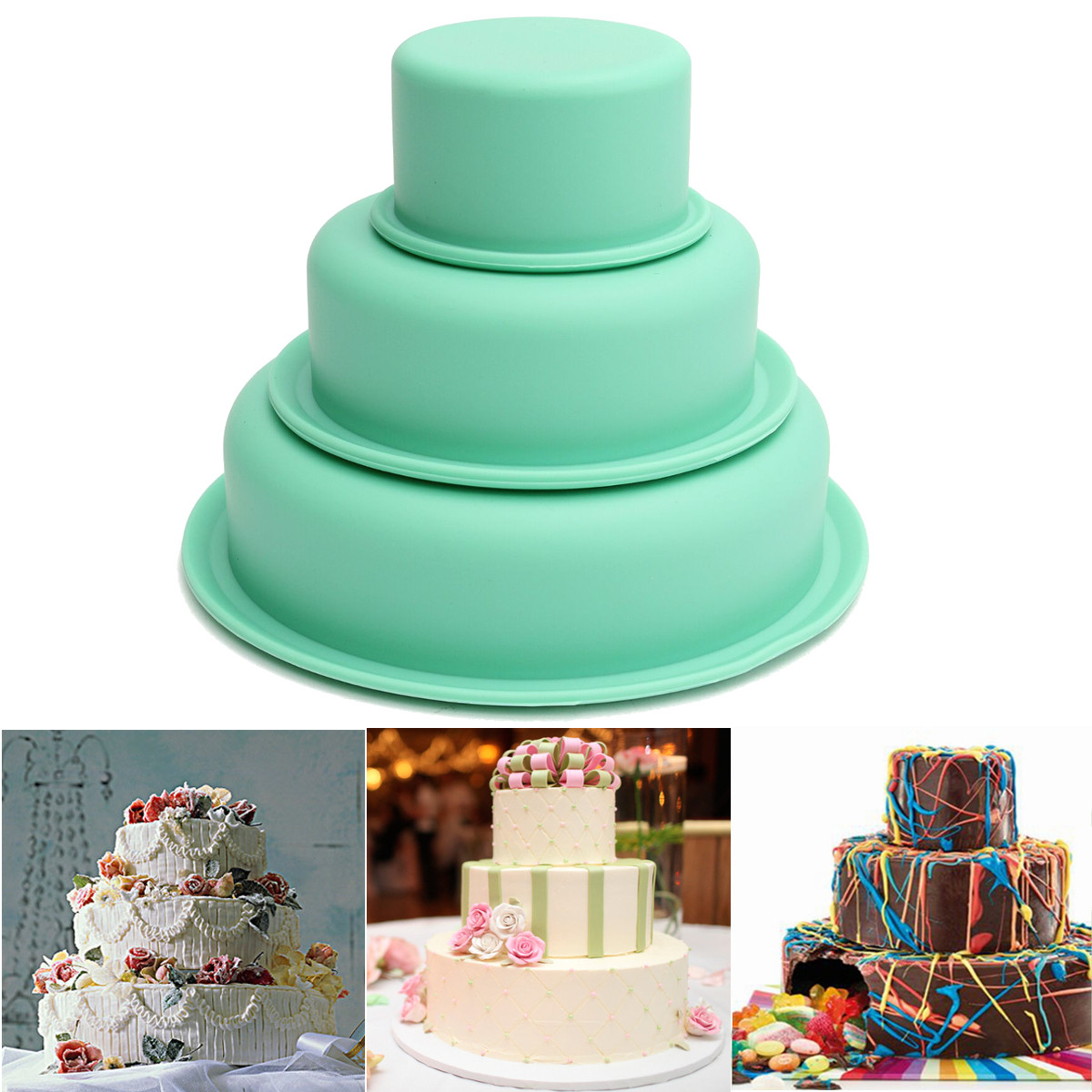 3 Layers Silicone Tier Cake Pan Round Baking Bareware Mold Pastry Tray Mould by