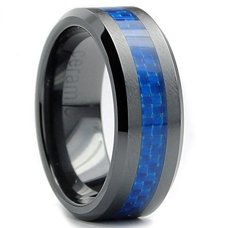 8Mm Flat Top Mens Black Ceramic Ring Wedding Band With Blue Carbon Fiber Inaly