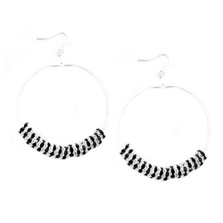 C Jewelry Silver And Black Glass Crystal 40 mm. Silver Round Earrings - image 1 de 1