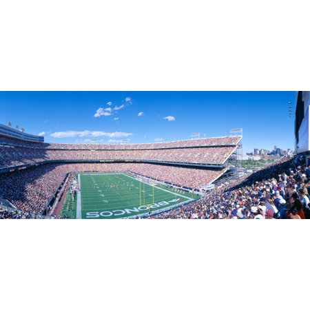 Sell-out crowd at Mile High Stadium Broncos v Rams Denver Colorado Stretched Canvas - Panoramic Images (27 x