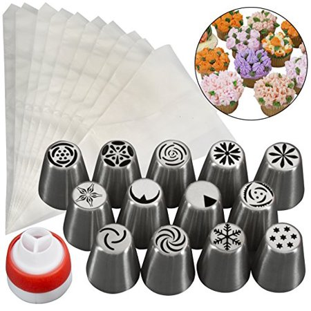 Russian Piping Tips- 24 Pc Dessert Cake Decorating Nozzle Set w 13 Nozzles, 10 Bags, and Tri-Color Coupler, - Use 3 Colors at Once