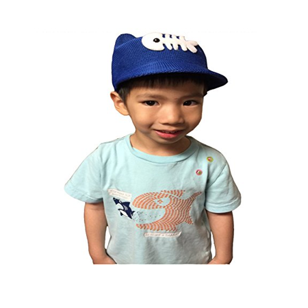Boys Mesh Hat with Ears and a Fish stitched on the Hat, Blue (Hat Fish)