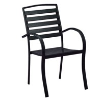 """35"""" Charcoal Black Stackable Modern Slatted Faux Eco-Wood Outdoor Patio Chair"""