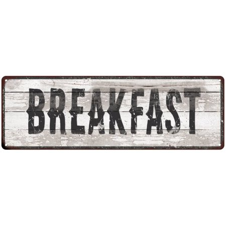 BREAKFAST Ship Lap Look Distressed Metal Sign 6x18 Country Chic Wall Décor .040 Thick Low Lustre M61800057 ()