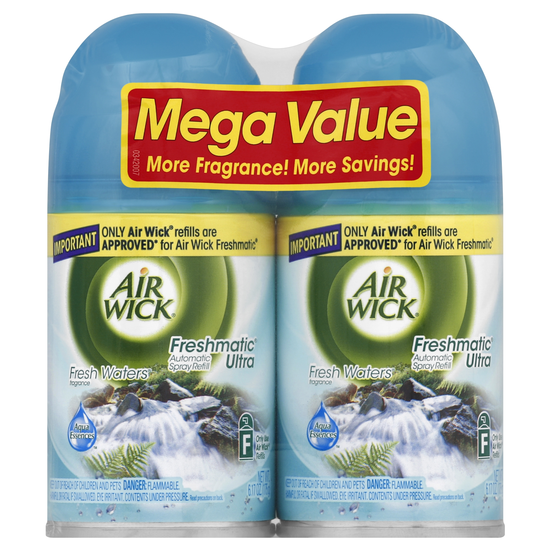 Air Wick Freshmatic Automatic Spray Air Freshener, Fresh Waters Scent, Twin Refills, 6.17 Ounce