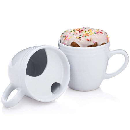 B01AC5EKDU 8-64696-00020-7, Set of 2 Mugs, White, Best. Morning. Ever. Donut warming coffee cups with handle and pastry holder; Thermal coffee cup with lid cover -.., By BEST MORNING